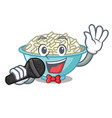 singing rice bowl mascot cartoon vector image