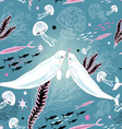 texture white whale lovers vector image