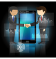 Two businessmen shaking hands and smart phone vector image