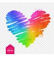 watercolor sketch of rainbow colored heart vector image vector image