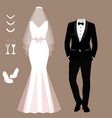 wedding card with clothes bride and vector image vector image