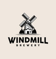 windmill vintage logo template vector image vector image