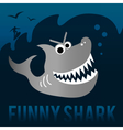 Funny shark with surfer vector image