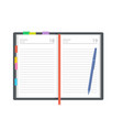 open diary planner or notebook in vector image