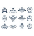 royal and luxury badges set vector image