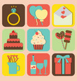 set of valentine icons design vector image
