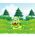 A scary three-eyed green monster at the hilltop vector image vector image