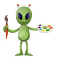 alien with paintbrush on white background vector image vector image