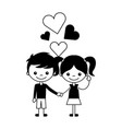 boy and girl love hearts cartoon vector image