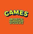 bright yellow 3d font bold alphabet for modern