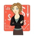 Brown-haired business woman wearing a suit vector image