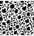 brush black flowers seamless pattern vector image