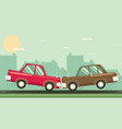 car crash two cars hit head-on flat design vector image vector image