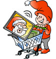 cartoon of an happy elf shopping vector image vector image