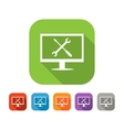 Color set of flat computer repair icon vector image vector image