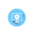 computer monitor icon with shield keyhole labal vector image vector image