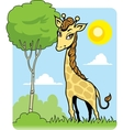 Cute Giraffe and Tree vector image vector image