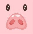 cute pink pig face vector image vector image