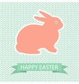 Easter card with pink rabbit on wool knited vector image vector image
