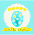 easter turquoise painted egg and golden ribbon vector image vector image