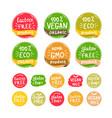 eco organic bio logos stickers set vector image
