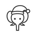 elephant wearing santa hat outline icon editable vector image vector image