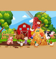 farm scene with kids and animals vector image vector image