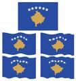 Flat and Waving Flag of Kosovo vector image vector image