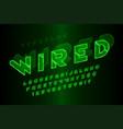 glowing 3d futuristic sci-fi alphabet creative vector image vector image