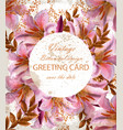 greeting card with beautiful pink flowers golden vector image vector image