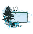 grunge floral frame with tree vector image vector image