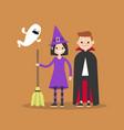 halloween trick or treat set flat set vector image