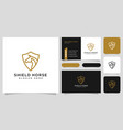 head horse and shield logo and business card vector image vector image