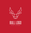 head of bull geometric style logo design vector image vector image