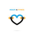 heart sign and dumbbell iconfitness and gym vector image vector image