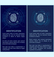 identification fingerprints posters set vector image vector image