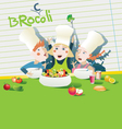 kids cooking healthy food vector image