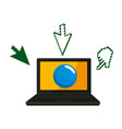 laptop with cursors icons vector image vector image