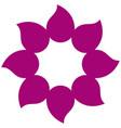 magenta petals forming flower icon vector image vector image