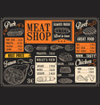 meat products menu of meat sketch on chalkboard vector image