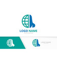 nose and globe logo combination ent clinic vector image vector image