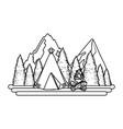 outdoor camping cartoon vector image