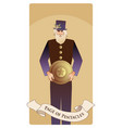 page or knave of pentacles with top hat holding a vector image vector image