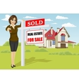 real estate agent standing next to sold sign vector image