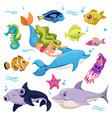 sea animals ocean creatures fish shark and vector image