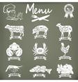 set butcher shop labels and design elements vector image vector image