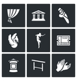 Set of Ballet Icons Curtain Theater vector image vector image