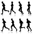 set of silhouettes runners on sprint men and vector image vector image