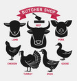 silhouettes of animals set butcher shop icons vector image