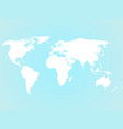 simplified white world map silhouette on turquoise vector image vector image